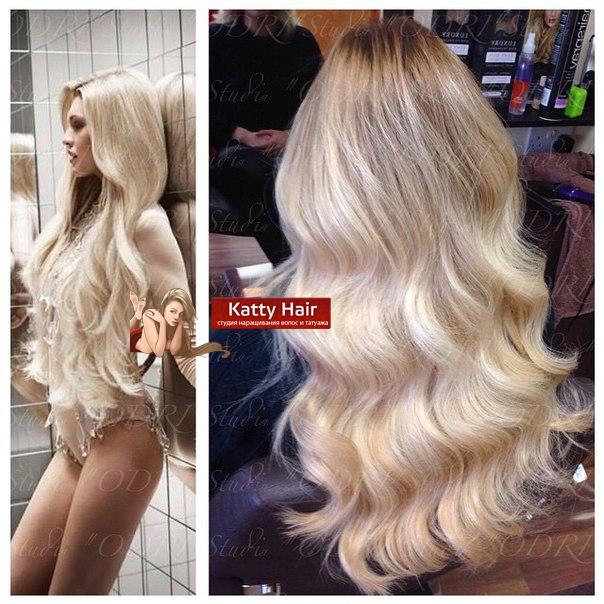 наращивание на лентах блонд