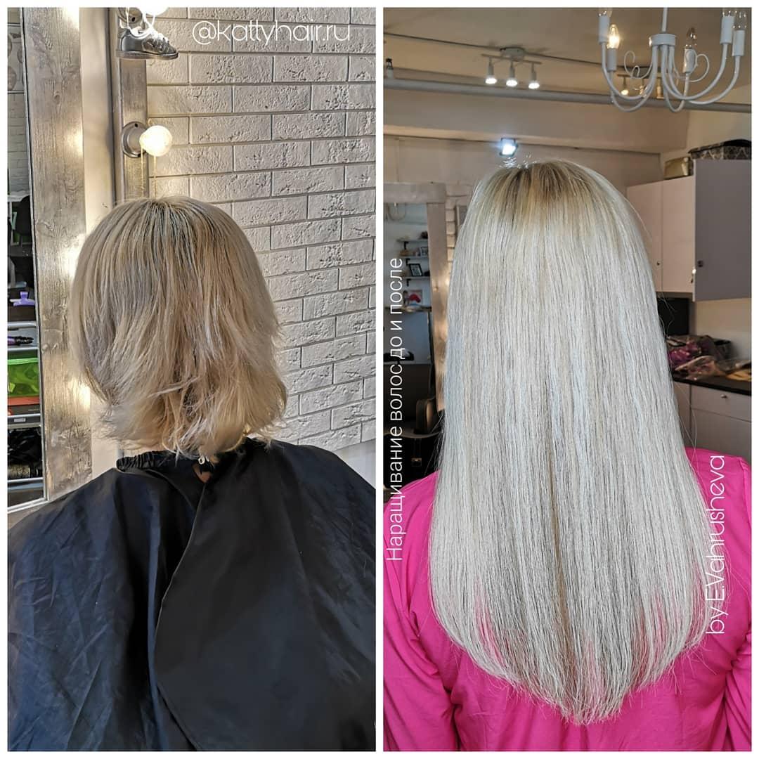 Наращивание волос картинки до и после на очень редкие волосы