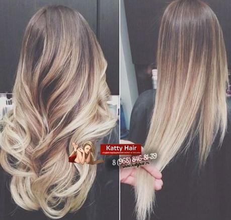 Омбре наращивание волос фото